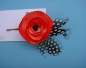 Orange Poppy  Feather Hair Pin
