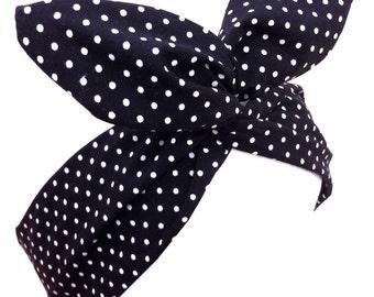 Black & White Polka Dot wire ROCKABILLY Pin Up Headband Hair Wrap