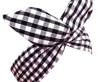 Black & White Gingham Check wire ROCKABILLY Headband Hair wrap