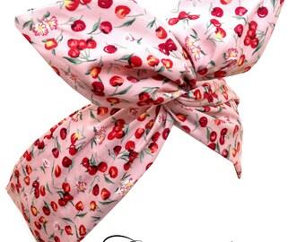 Pin Up ROCKABILLY Baby Pink CHERRY Print Wire Headband Hair Wrap