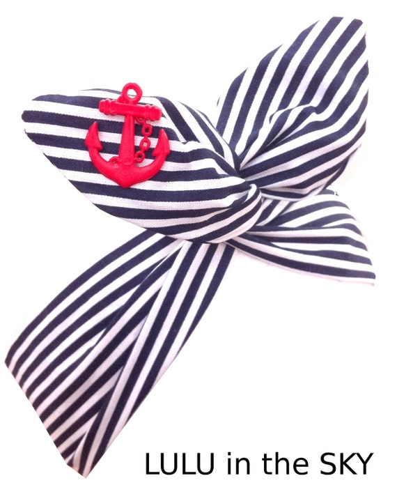 Pin Up ROCKABILLY Wire Headband - Navy Blue Nautical Sailor girl Stripe with Red Anchor Hair Wrap