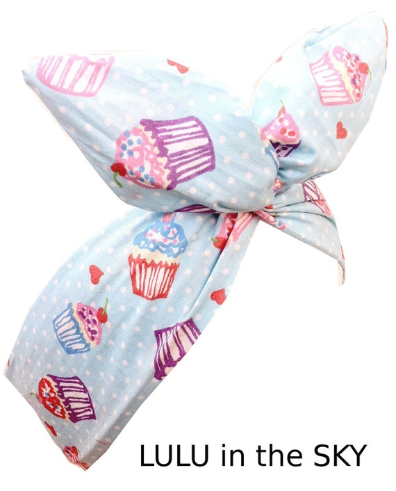 Blue Cupcakes wire Pin up ROCKABILLY Headband Hair Wrap Cute & Kitsch