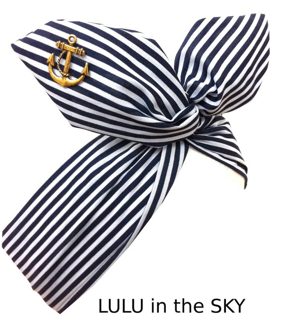 Pin Up ROCKABILLY Wire Headband - Navy Blue Nautical Sailor girl Stripe with Gold Vintage Anchor Hair Wrap
