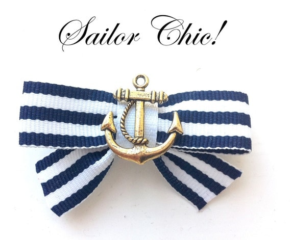 Navy Blue & White Striped nautical Sailor girl Hair Bow  with Anchor ROCKABILLY Pin Up