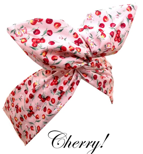 Pin Up ROCKABILLY Baby Pink CHERRY Print Wire Headband Hair Wrap