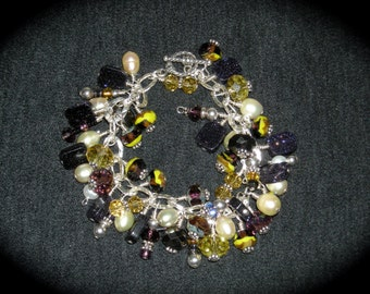 Cha Cha Bracelet, Purple And Yellow Czech Beads With Goldstone Sterling Silver Bracelet
