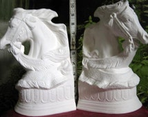 Rare,Beautiful, Carousel Bust Bookends, Horse bookends, Carousel bust, Horse Bust, Ready to paint, ceramic bisque,u-paint