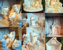 Made from Vintage Christmas Molds, Santa's Workshop,Santa Claus, Mrs Santa, Santa Family, Santa's elves, Ready to paint, Ceramic Bisque