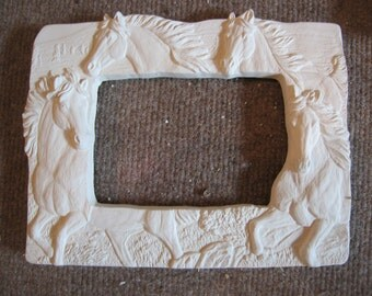 Wonderful, horse picture frame, Horse Lovers gift, Cowboy, Wild Mustangs, Southwestern decor,  Ready to paint,Ceramic bisque,u-paint