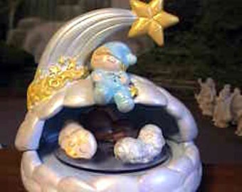 Music box, Nap Time, Baby music box, Vintage, Clouds Baby and baby animals, Ready to paint, Ceramic bisque, u-paint