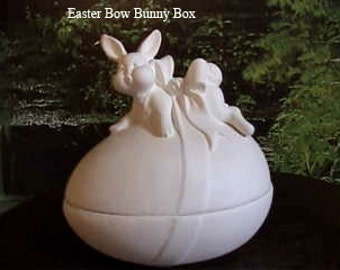 """Easter Bunny with Bow, Egg Box, trinket, jewelry,nick knack,Candy Dish,Easter Decoration, 6"""" by 6"""", Ceramic bisque,u-paint, Ready to paint,"""