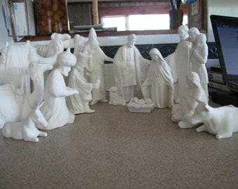 15pc Vintage Nativity, Duncan Nativity, Holy Night,Holy Family, Jesus and Mary,  Christmas Nativity, Ready to paint,Ceramic bisque, u-paint