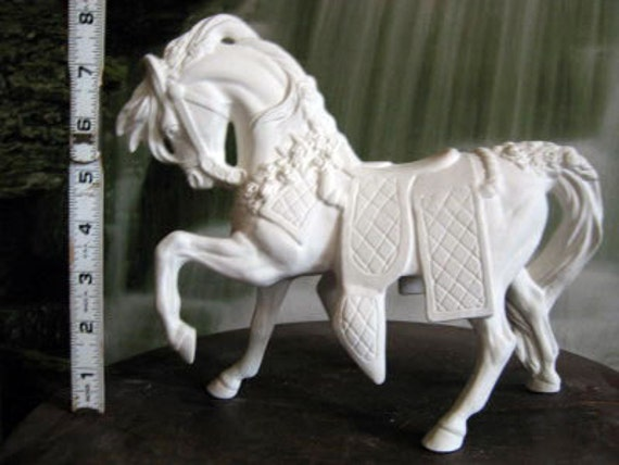 """Highly detailed, parade horse, carousel horse, prancing horse, ceramic bisque, ready to paint,  u-paint, 7"""" tall"""