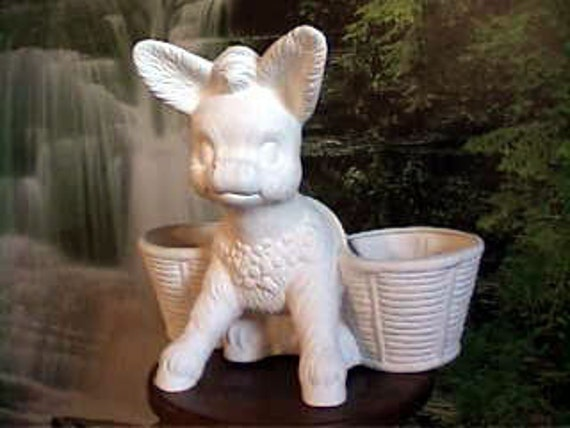 Vintage,Large Planter, Donkey planter, Double planter, Basket, Flower pot, patio pot, animal planter,u-paint, Ready to paint, ceramic bisque