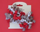 Hair Bow Set - Small Red and Gray Football Korkers