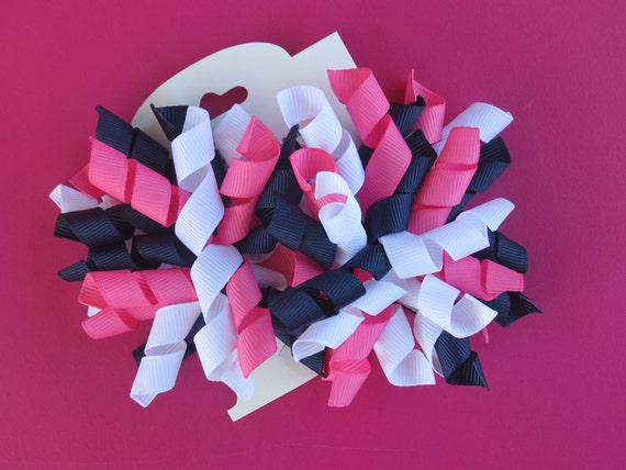 Hair Bow Set - Hot Pink, Navy, and White Korkers