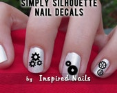 Steampunk All Gears Nail Decals Black and Clear Simply Silhouette by Inspired Nails