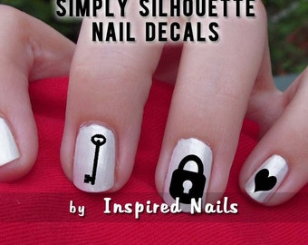 Key to My Heart Nail Decals Black and Clear Simply Silhouette by Inspired Nails
