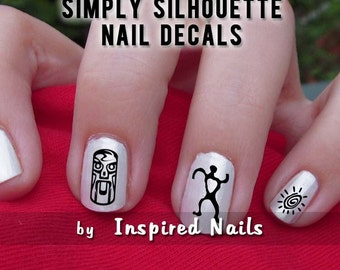 Tribal Nail Decals Black and Clear Simply Silhouette by Inspired Nails