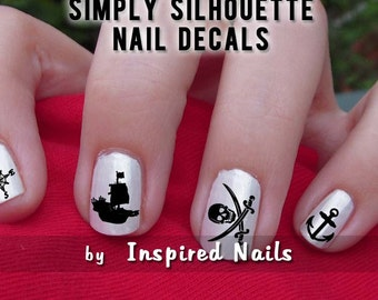 Pirate Nail Decals Black and Clear Simply Silhouette by Inspired Nails
