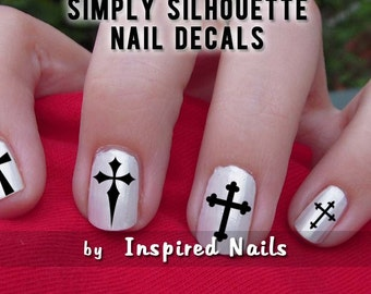 Cross Crucifix Decals Black and Clear Simply Silhouette by Inspired Nails