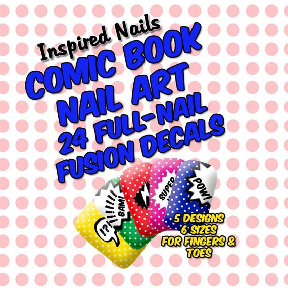 Comic Book Nail Art Decals  Set of 24 in Five Designs  Full Nail Fusion Decals