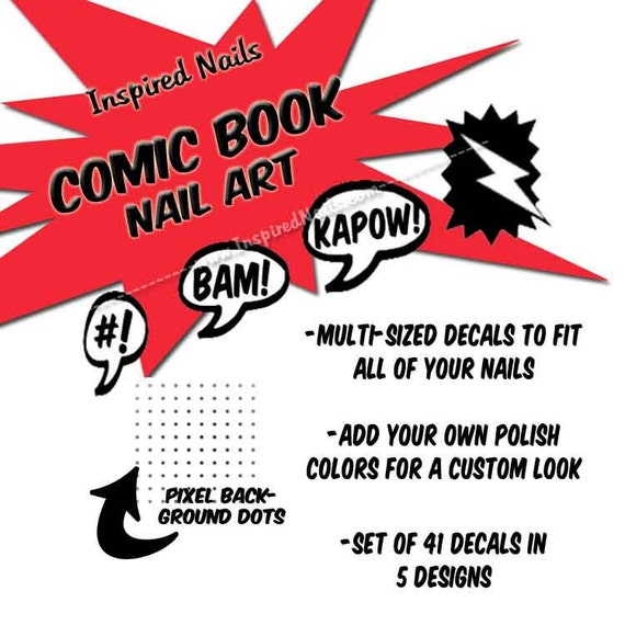 Comic Themed Nail Decals - Word Bubbles, Lightening Bolt and Pixel Dots