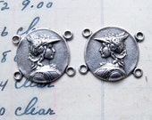 Pair of connectors for bracelets or earrings with God Hermes, antique silver