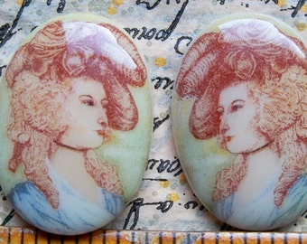 TWO hand painted glass cameos Marie Antoinette, 25 X18