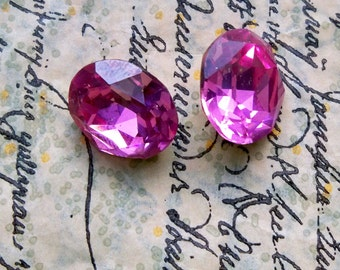 Vintage Swarovskis, 12 X 10mm, Rose, TWO