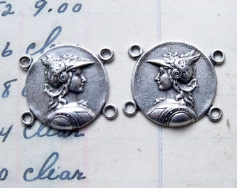 TWO Pairs of connectors for bracelets or earrings with God Hermes, antique silver