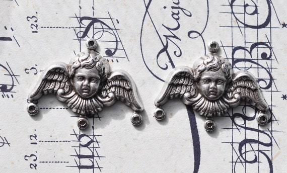 Two angel charm holders, Antique silver finish, 30 mm