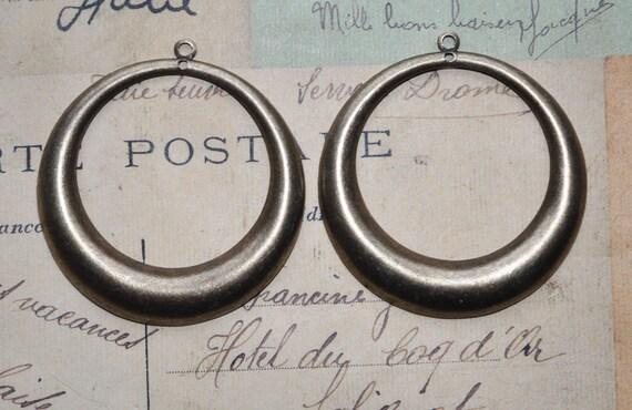 """Two hoop earring dangles, 2"""", oxidized brass"""