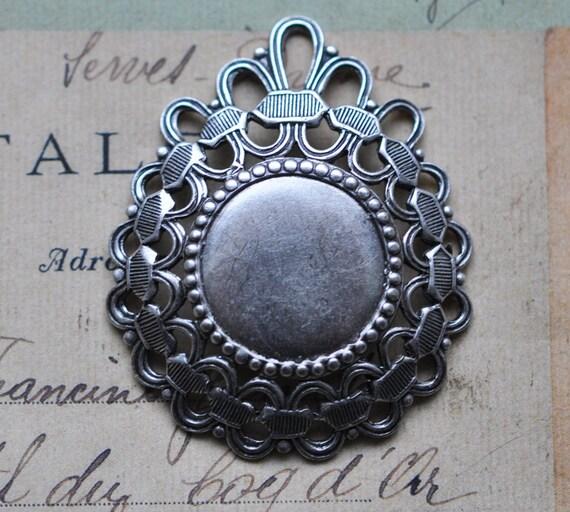 Neo Victorian Filigree pendant, dapped, Antique silver finish
