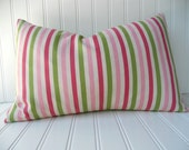 Girls Bedding - Pillow - Pillow Cover - Pink and Green Stripe - Preppy/Cottage