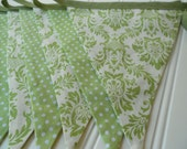 Green and White Damask Bunting/Fabric Bunting Flags Banner - Birthday, Room Decor, Wedding, Shower, Baby Shower - DAMASK and DOT BUNTING