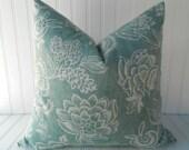 Blue Pillow.Decorative Pillow Cover.Teal Blue Pillow.Floral Pillow.Cushion Cover.Blue Pillows