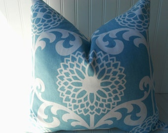 Decorative Pillow Cover  - 18 x 18 inch Throw Pillow - Blue and White Floral Pillow Cover