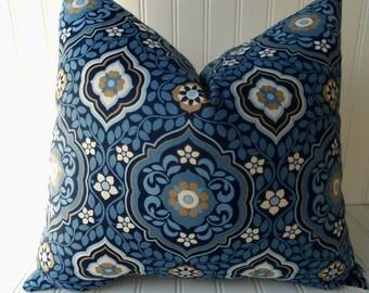 Decorative Designer Pillow Cover-Greek Island Blue -100% Cotton-16 x 16 inch