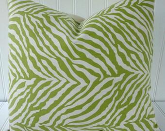 Green Pillow.Decorative Pillow Cover.Green Zebra Print Pillow.Green Cushion Cover.Animal Print.Zebra Strip.Brown Pillows.SET OF TWO