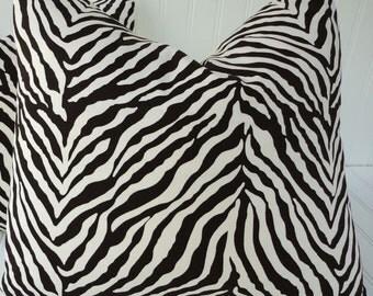 Brown Zebra Pillow, Throw Pillow, Decorative Pillow, Zebra Cushion, Accent Pillow, Animal Print Pillow, 18, 20 inch