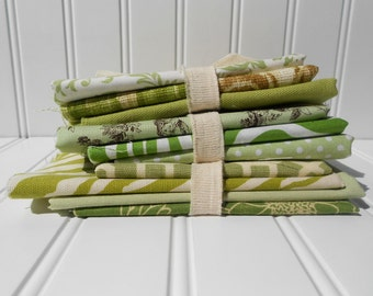 Fabric Scraps-Bundle of 10 Fabrics-MIXED GREENS-Cotton