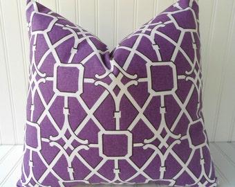Purple Pillow - 18 x 18 - Throw Pillow - Purple Trellis/Lattice Geometric