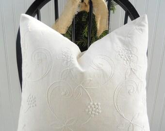 White Pillow Cover - Throw Pillow - Decorative Pillow Cover - Winter White Home Decor - Holiday Pillows - Winter - Christmas Pillow