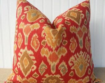 Red Pillow - 18 x 18 - Red Throw Pillow - Red IKAT -  Accent Pillow - Linen/Rayon Blend