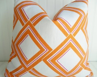 Orange Pillow Cover-Linen Pillow.Decorative Orange Pillow Cover - 12  x 18, 16 x 16, OR 18 x 18 inch Cushion Cover