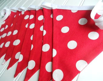 Red Bunting, Party Decoration, Birthday Banner, Nursery Decor, Photo Prop, Red White Polka Dot WOODLAND PARTY Decoration