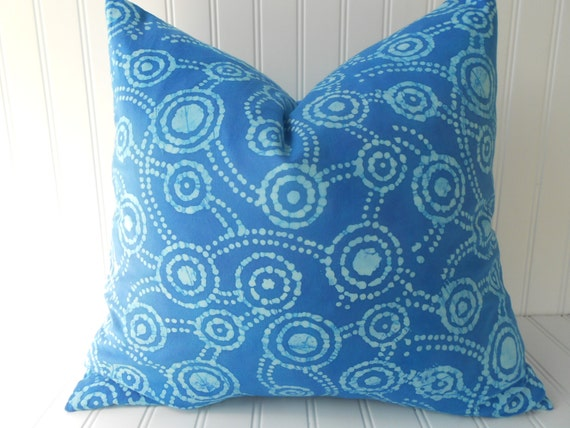 Blue Batik Pillow Cover 18 x 18 inch Throw Pillow