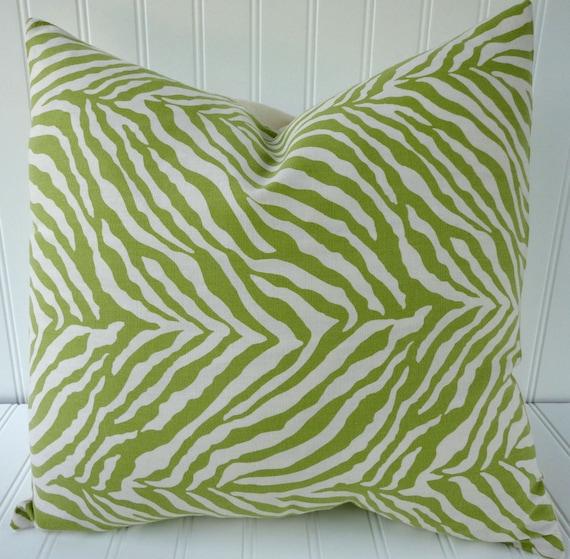 Decorative Designer Pillow Cover-16 x 16 inch - Green and White  Zebra Print - 100% Cotton