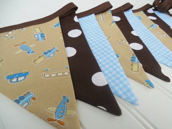 Boys Blue Brown Transportation Bunting Banner, Fabric Flags.Airplanes.Cars.Nursery.Baby Shower.Party Decoration.Photo Prop